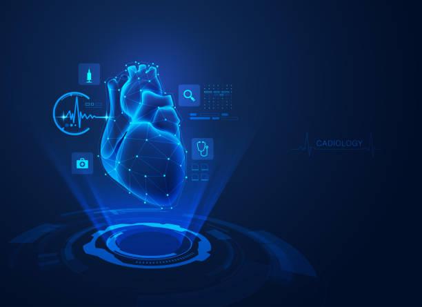 ilustrações de stock, clip art, desenhos animados e ícones de cardiology - hologram