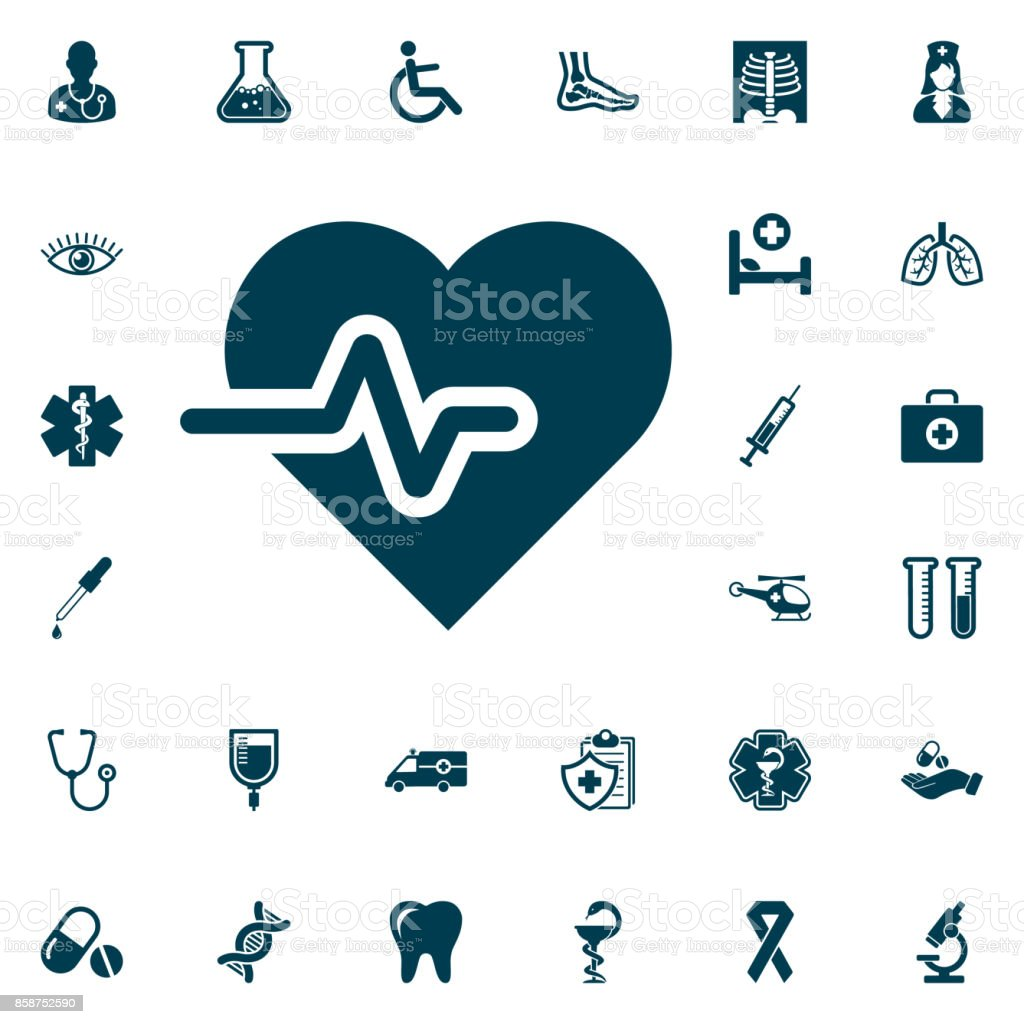 cardiology wave monitor heart icon, medical set on white background.  Health Care Vector illustration vector art illustration