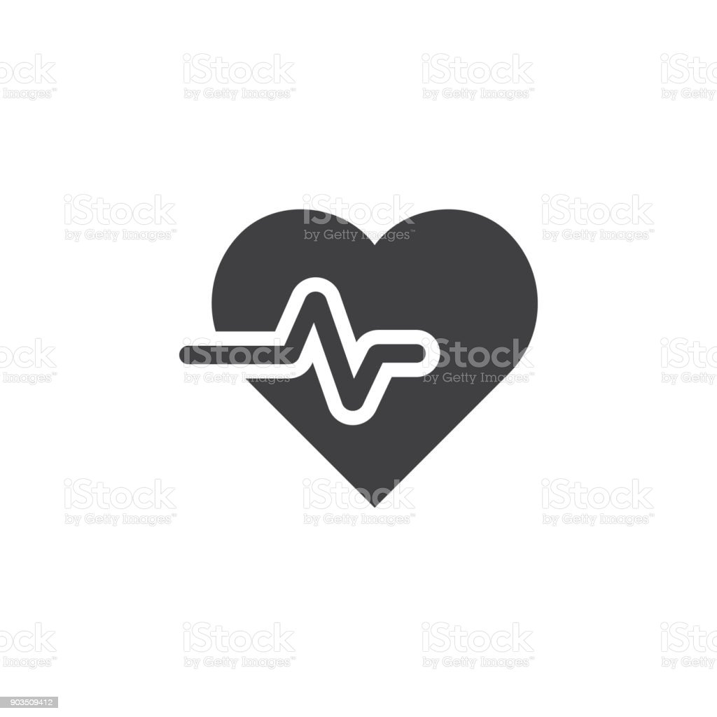 cardiology wave monitor heart icon. vector art illustration