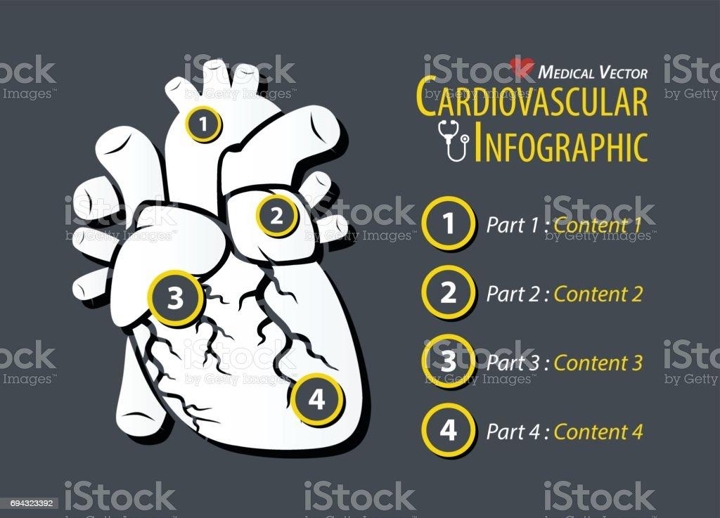 Cardiovascular Infographic . Flat design . vector art illustration