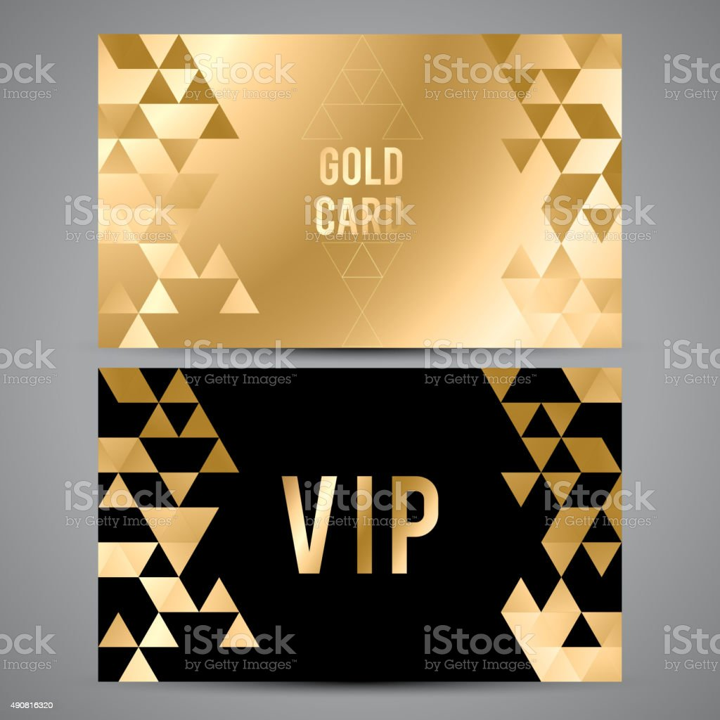 VIP cards. Black and golden design. Triangle decorative patterns vector art illustration
