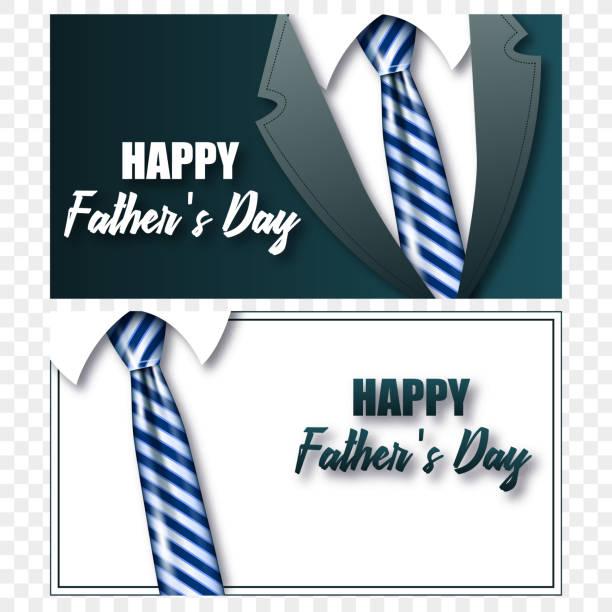 Karten-Vatertag-Krawatte mit realistischen Krawatte – Vektorgrafik