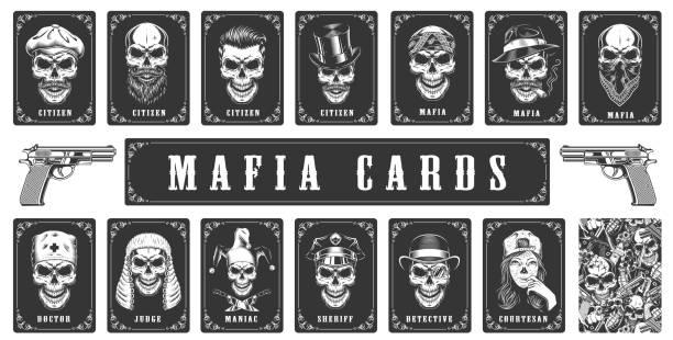 Cards for the mafia game Cards for the mafia game. Vector illustration gangster stock illustrations