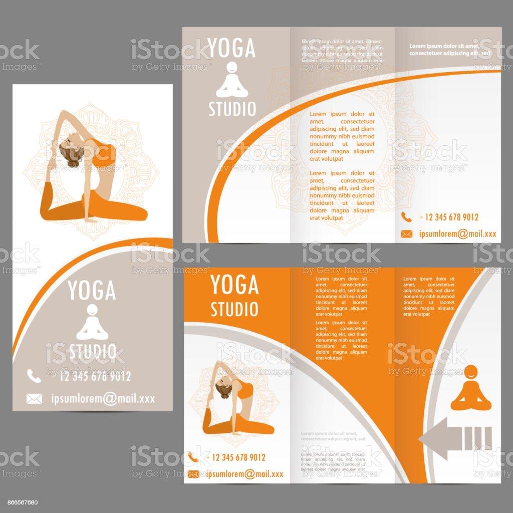 Karten Für Frau Yoga Studio Banner Oder Broschüre Vorlage Stock ...