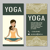 cards for Woman yoga studio with paisley ornament, banner or brochure template , vector illustration