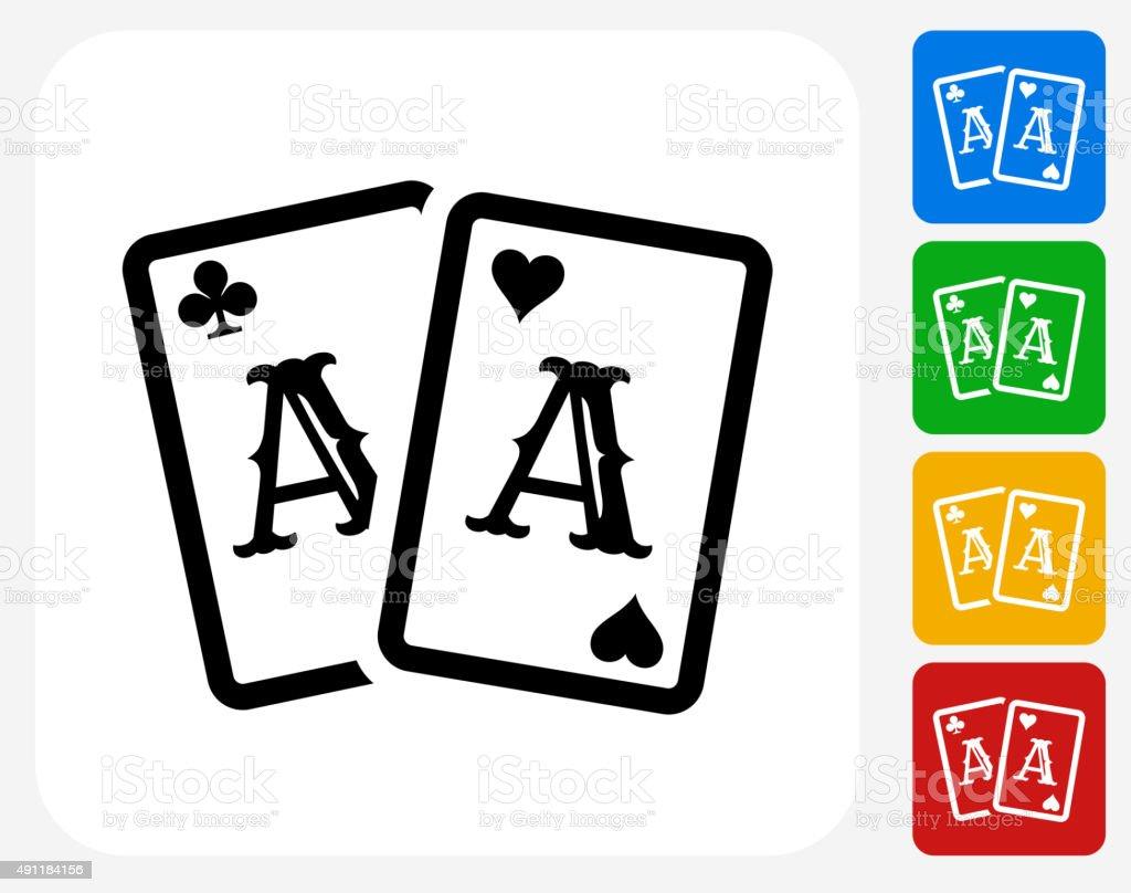 Cards Icon Flat Graphic Design vector art illustration
