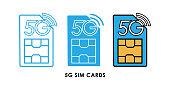 5G SIM cards icon logo vector illustration. 5G internet connection vector template design. 5G SIM cards technology vector illustration for website, sign, symbol, logo, app, UI.