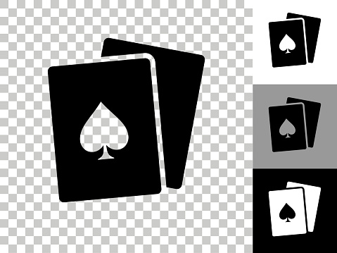Cards Icon on Checkerboard Transparent Background
