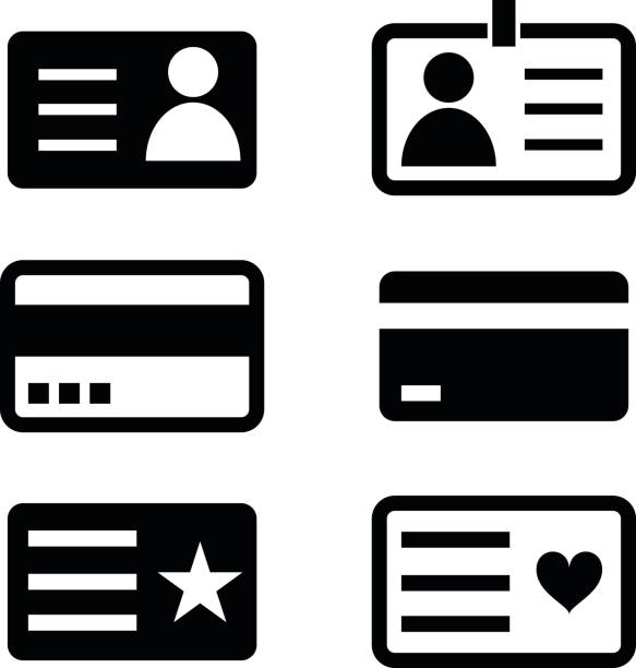 ID cards icons. ID cards icons. organized group stock illustrations