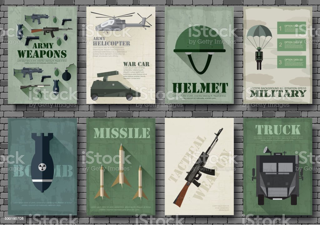 Cards of military equipment cards vector art illustration
