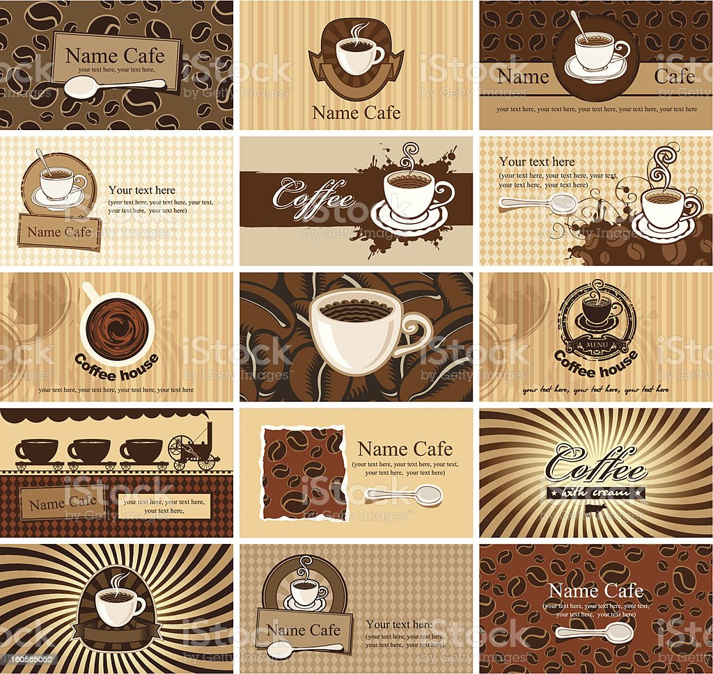 cards on coffee royalty-free stock vector art