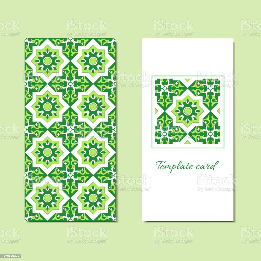 Cards Or Invitations Template With Green Flowers Ornament