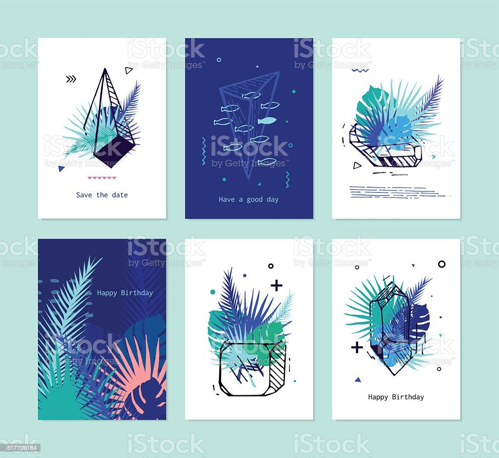 Cards set of tropical elements with crystals. vector art illustration