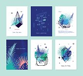 Cards set of tropical elements with crystals.