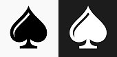 Cards Spades Icon on Black and White Vector Backgrounds. This vector illustration includes two variations of the icon one in black on a light background on the left and another version in white on a dark background positioned on the right. The vector icon is simple yet elegant and can be used in a variety of ways including website or mobile application icon. This royalty free image is 100% vector based and all design elements can be scaled to any size.