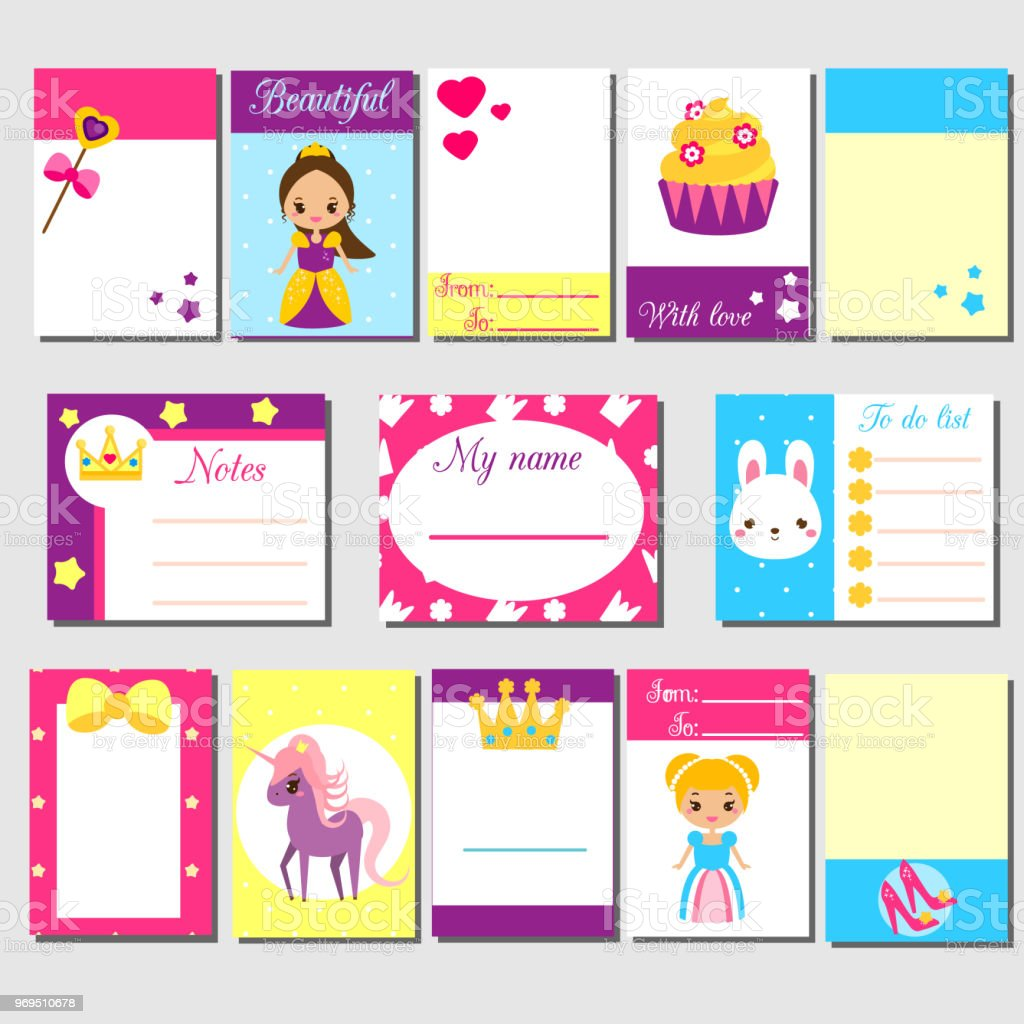 Cards sticky notes stickers labels tags with cute princess cards sticky notes stickers labels tags with cute princess characters stopboris Images