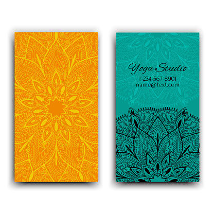 Cards template for yoga studio. Isolated vector editable pattern with mandala on front and back side of flyer.