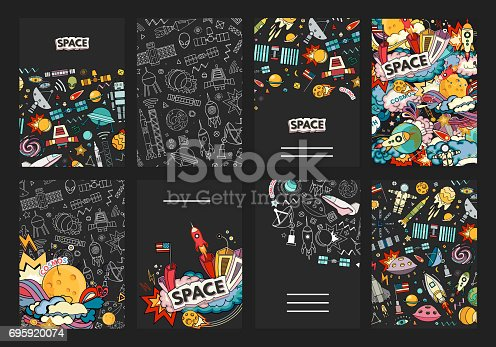 ards vector template illustration of space. Moon, planet, rocket, earth, cosmonaut, comet universe Classification milky way osmos.