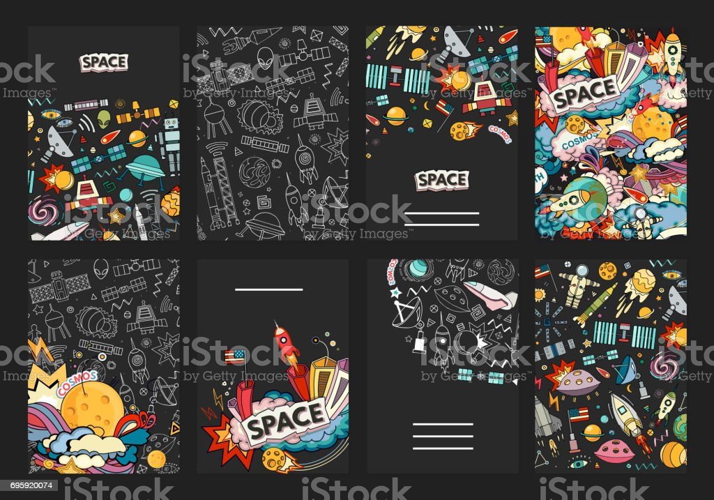 Cards vector template of cosmos. vector art illustration