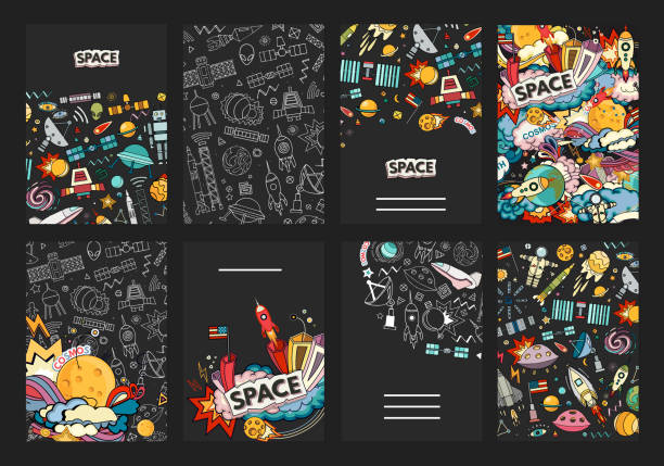 cards vector template of cosmos. - space exploration stock illustrations, clip art, cartoons, & icons