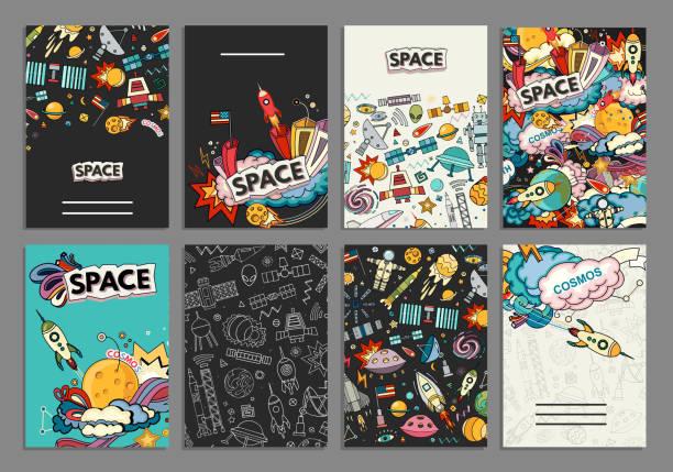 コスモスのカード ベクトル テンプレート。 - 漫画の子供たち点のイラスト素材/クリップアート素材/マンガ素材/アイコン素材