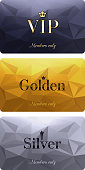 VIP cards with abstract mosaic background. Different cards categories - VIP, golden, silver. Members only design.