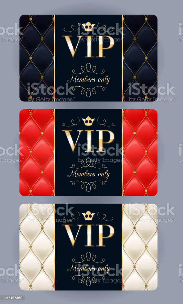 VIP cards with abstract quilted background. vector art illustration