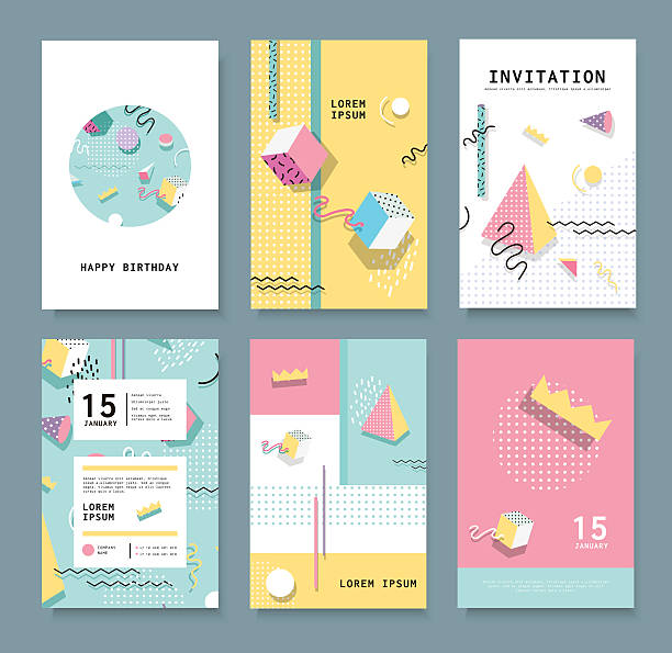 cards with geometric elements - hipster fashion stock illustrations, clip art, cartoons, & icons