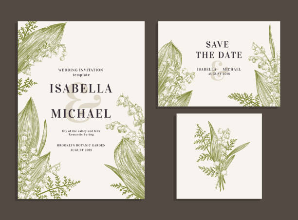 Cards with lilies of the valley. Vintage wedding set with spring flowers. Lilies of the valley and fern. Wedding invitation, save the date, reception card. Vector illustration. lily of the valley stock illustrations