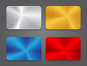 Cards with metal background. Vector blank button for design