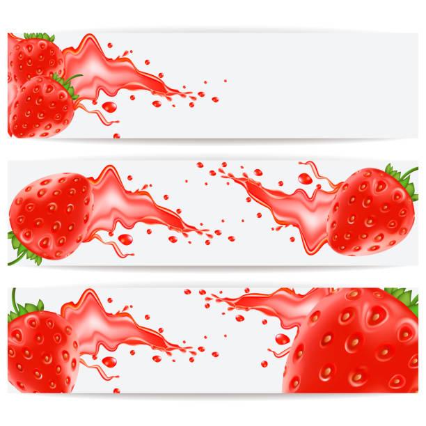 Karten mit realistischen Erdbeeren und einem Schuss Saft – Vektorgrafik