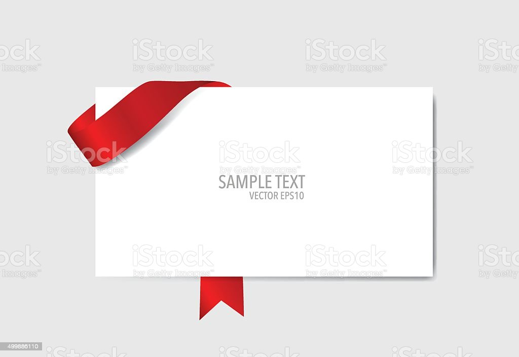Cards with red ribbons. Vector illustration. vector art illustration