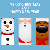 Cards with Santa Claus, reindeer and snowman close-up