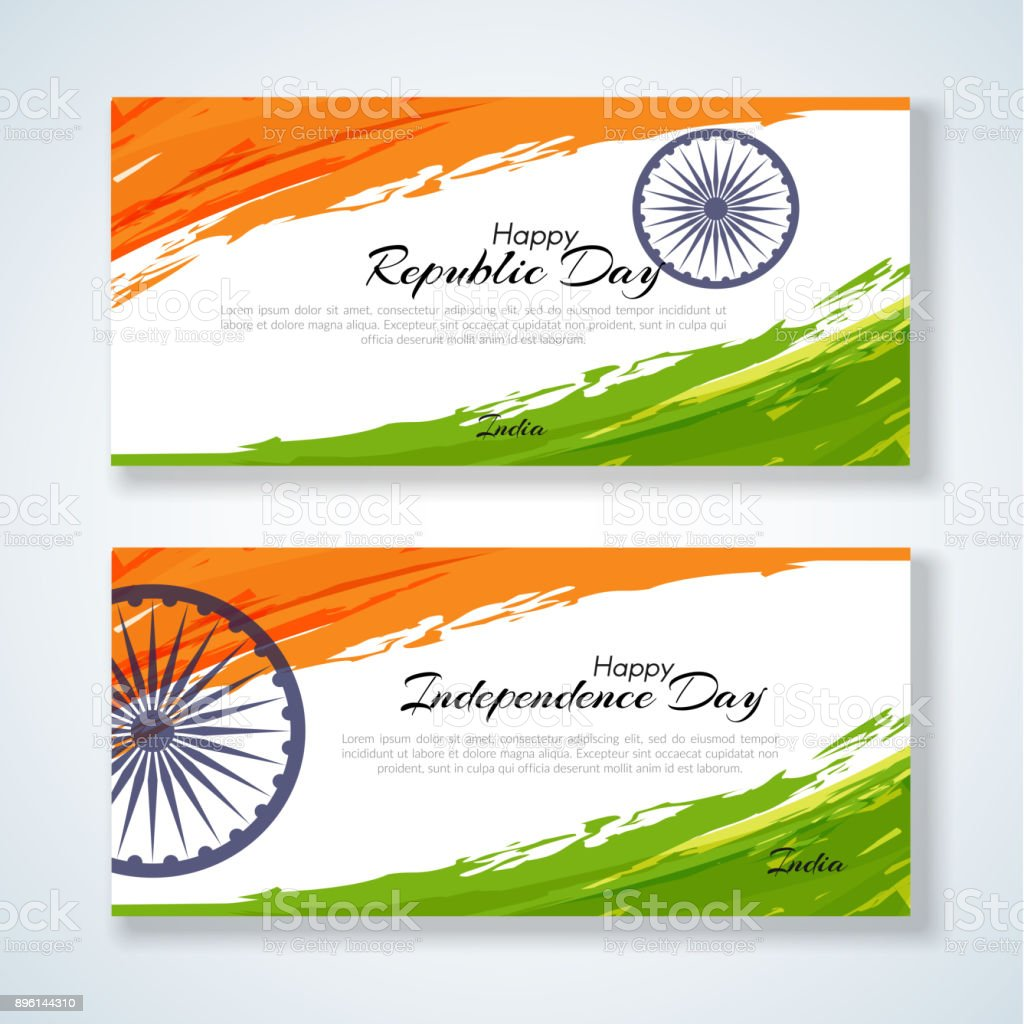 Cards With The Text Republic Day And Independence Day Of