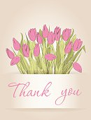 Greeting cards with hand drawn tulips. Use for Thank you cards, Greeting cards, Wedding invitations, announcement cards. Vector illustration.