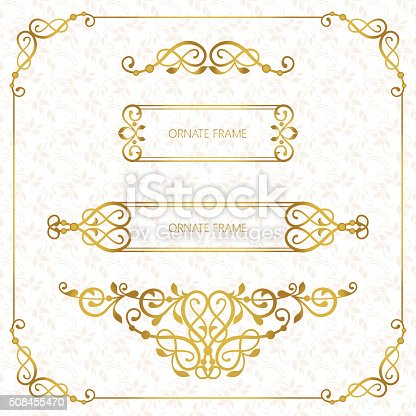 Set vector decorative frame. Elegant element for design template, place for text. Floral border. Lace decor for birthday and greeting card, wedding invitation.