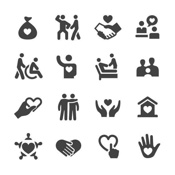 Care and Charity Icons - Acme Series Care, Charity, sheltering stock illustrations
