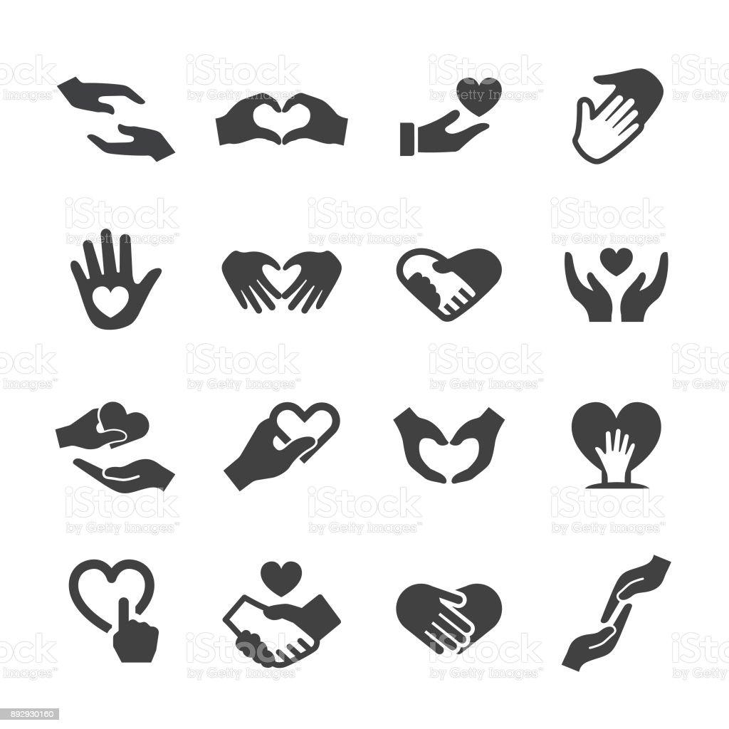 Hand och älskar gest ikoner - Acme-serien - Royaltyfri Alla hjärtans dag vektorgrafik