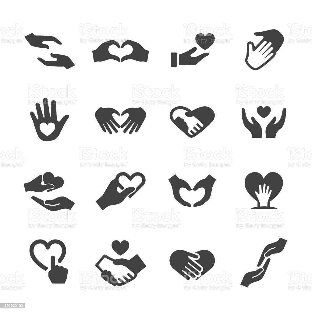 Care and Love Gesture Icons - Acme Series