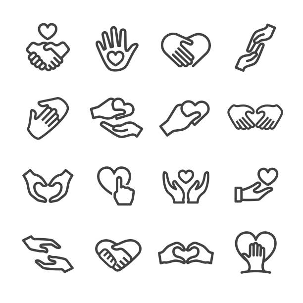 care and love gesture icons - line series - dłoń stock illustrations