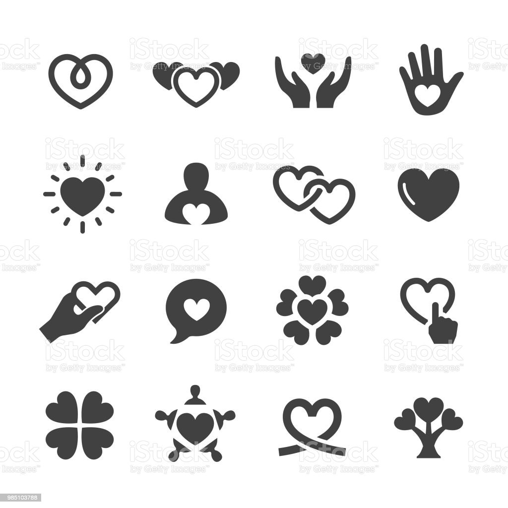 Care and Love Icons - Acme Series - Royalty-free Alívio arte vetorial