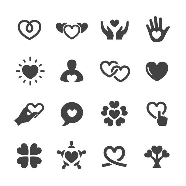 care and love icons - acme series - serce symbol idei stock illustrations