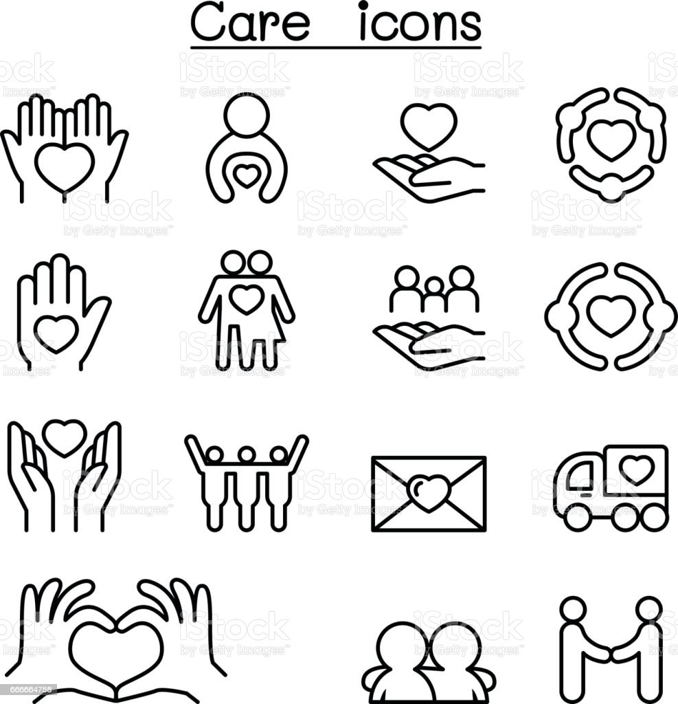 Care, Charity, Kindness icon set in thin line style vector art illustration
