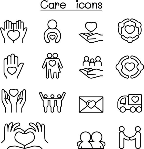 ilustrações de stock, clip art, desenhos animados e ícones de care, charity, kindness icon set in thin line style - perto de deus