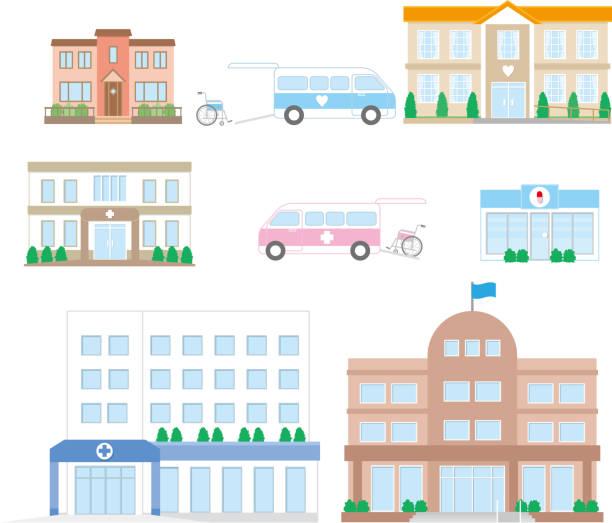 ilustrações, clipart, desenhos animados e ícones de rede de instalações de cuidados - consultório médico