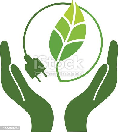 Vector illustration representing the concept of two human hands holding a green leaf surrounded by an electric plug.