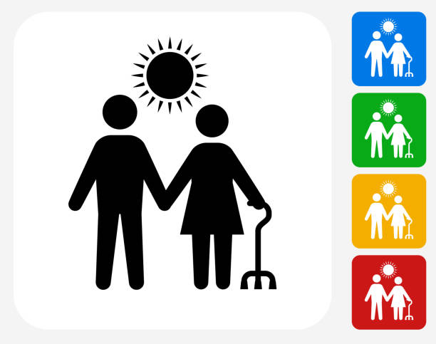 care giver icon flat graphic design - old man stick figure silhouette stock illustrations, clip art, cartoons, & icons
