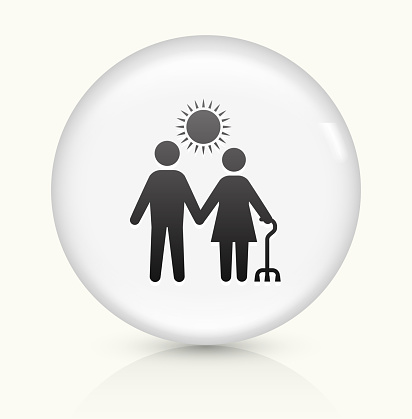 Care Giver icon on white round vector button