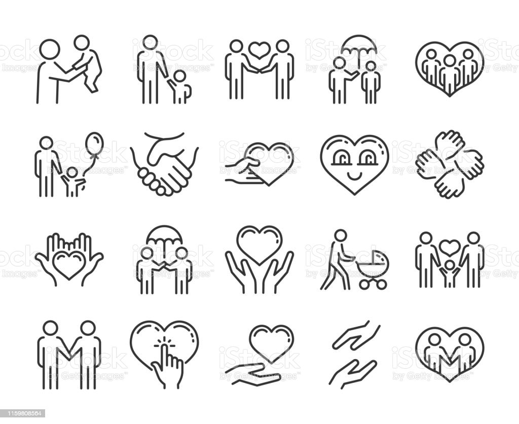 Care icon. Help and sympathy line icon set. Editable stroke. Care icon. Help and sympathy line icon set. Editable stroke. A Helping Hand stock vector