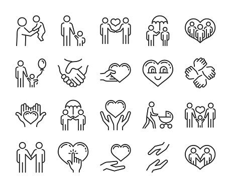 Care icon. Help and sympathy line icon set. Editable stroke.